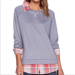 Soft Joie | Layered Sweatshirt Top Collar Plaid XS